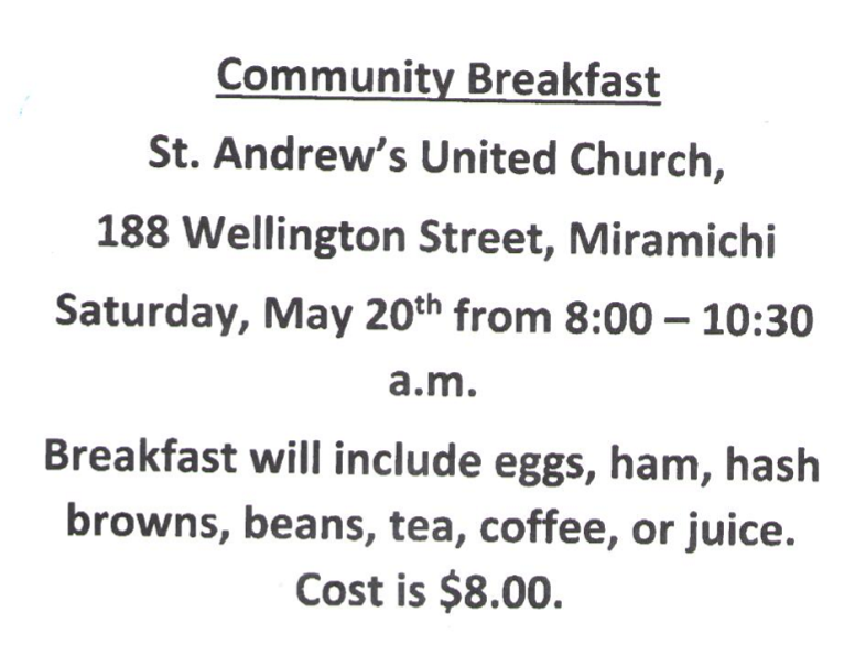 St Andrews Breakfast May 20 2017